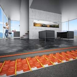 Die Warmwasser-Fußbodenheizung Schlüter-BEKOTEC-THERM punktet durch die niedrige Aufbauhöhe.